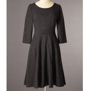 Boden grey fit and flare polka dot wool dress